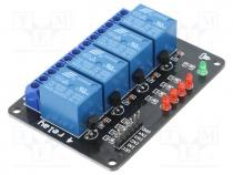 Module  relay, Channels  4, 5VDC, max250VAC, 10A, Uswitch  max30VDC