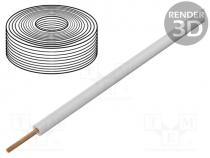 Wire, stranded, Cu, 1x0,14mm2, PVC, white, 60V, -10÷85°C, 10m