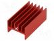 Heatsink  extruded, H, TO220, red, L  40mm, W  23.3mm, H  16.5mm