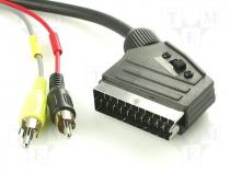SCART-33 - Cable, plug SCART 21pin-2x plug RCA, switch, 1,5m