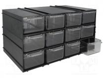 KON-PX12 - Set with drawers, Drawers no.in module 12, 230x142x125mm
