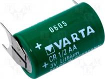 BAT-CR1/2AA-PCB - Lithium battery 3V 950mAh dia 14,6x25mm 3pin