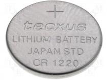BAT-CR1220/TX - Lithium coin battery 3V 35mAh dia. 12x2mm Tecxus