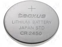 BAT-CR2450/TX - Lithium coin battery 3V dia. 24x5,0mm Tecxus