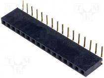 Socket pin strips female PIN 16 angled 2.54mm THT 1x16 3A