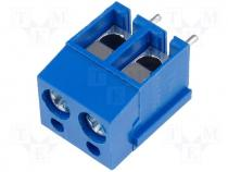 Terminal block angled 2.5mm2 THT screw terminals ways 2 16A