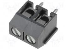 Terminal block angled 1.5mm2 5mm THT screw terminals ways 2