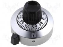 Precise knob, with counting dial, Shaft d 6.35mm, Ø25.4x21.05mm