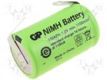 Rechargeable battery Ni-MH, 2/3A,2/3R23, 1.2V, 1100mAh