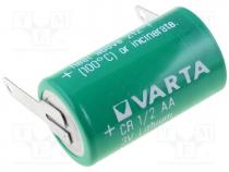 Battery lithium, 3V, 1/2AA,1/2R6, soldering lugs, Ø14.6x25mm