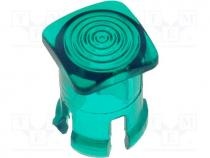 LED lens, square, green, lowprofile, 5mm