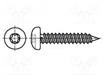 Screw, 2,9x6,5, Head  button, Torx, steel, zinc, Cut size  TX10