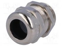 Cable gland, M25, IP68, Mat  brass, Body plating  nickel