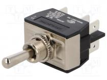 Switch  toggle, 1-position, DP3T, (ON)-OFF-(ON), 16A/250VAC, 100mΩ