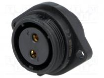 Socket, female, SP21, PIN 2, IP68, soldering, 500V, 4mm2, 30A