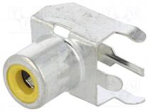 Socket, RCA, female, angled 90°, THT, tinned, Contacts  brass