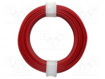 Wire, stranded, Cu, 1x0,14mm2, PVC, red, 60V, -10÷85°C, 10m