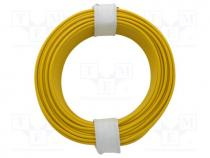 Wire, stranded, Cu, 1x0,14mm2, PVC, yellow, 60V, -10÷85°C, 10m
