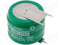 Rechargeable cell Ni-MH 3,6V 170mAh dia 25x18mm 3pin