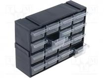 SZUFLPL16 - Set with drawers, 220x70x160mm, polypropylene, Module  black
