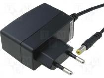 ZSI9/1A - Pwr sup.unit switched-mode, 9V, Out 5,5/2,1, 1A, 9W, Plug EU