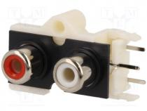 CC-130 - Socket, RCA, female, double deck, angled 90°, THT, No.of sockets 2