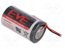 EVE-ER34615/FL - Battery  lithium, 3.6V, D, 150mm leads, Ø32.9x61.5mm, 19000mAh