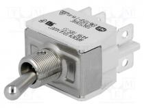Switch  toggle, Positions  3, DP3T, ON-OFF-ON, 10A/250VAC, -20÷55°C