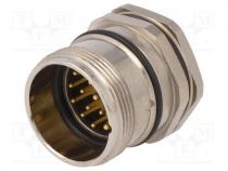 Connector  M23, socket, PIN  19(3+16), male, soldering, straight, 8A