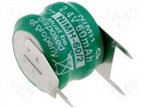 ACCU-60/2 - Rechargeable cell Ni-MH 2,4V 65mAh dia 16x12mm 3pin