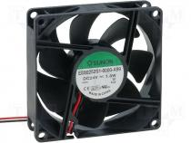 Ανεμιστήρας DC - Fan DC 24VDC 80x80x25mm 69.7m3/h 33dBA slide bearing 1.8W